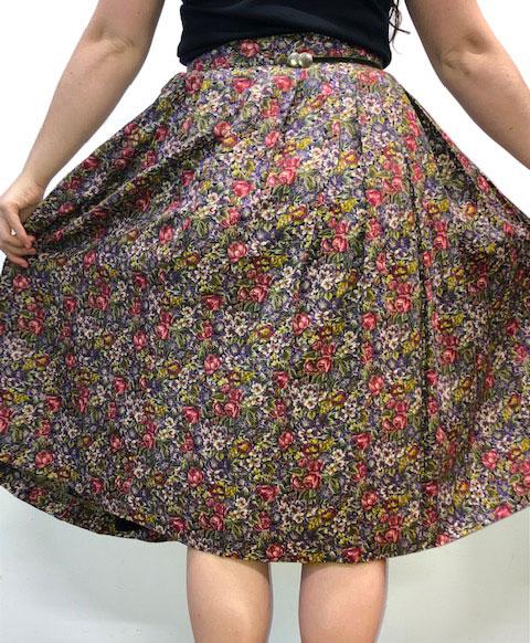 back skirt 60s Classic Floral Print Skirt