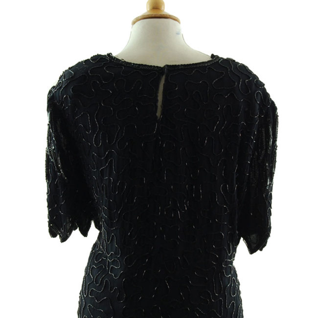 close back of 90s Black Chiffon Beaded Top