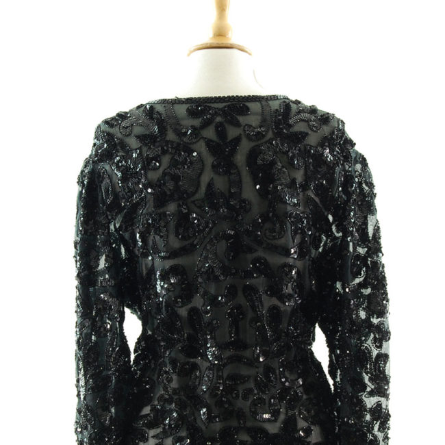close back of 90s Black Sequined Cardigan