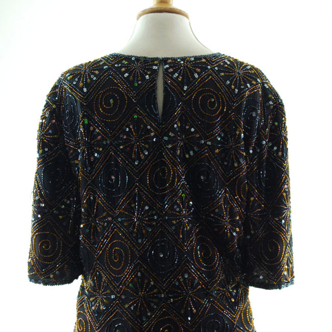 close back of Womens Vintage Beaded Top