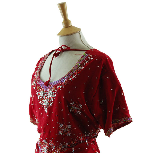 close side of 90s Red And Silver Sequined Top