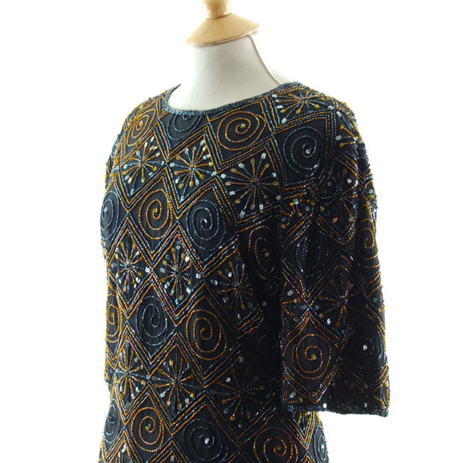 close side of Womens Vintage Beaded Top