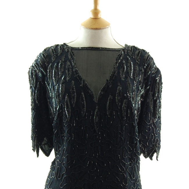 close up of 90s Black Chiffon Beaded Top