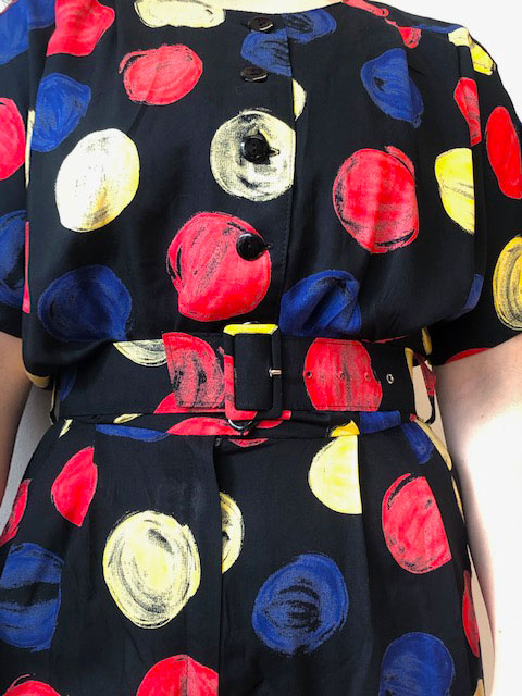 close up of 90s Multicolored Spot Print Playsuit