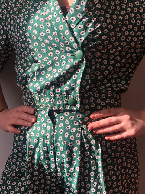 close up of Green Flower Print Playsuit