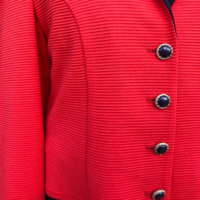 close up of 90s Red Ribbed Suit Jacket