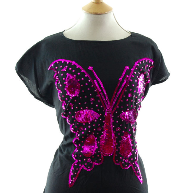 close up of Sequin Butterfly Tee Shirt