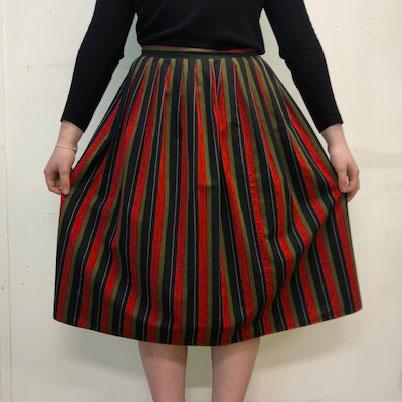 full skirt 60s Vintage Striped Skirt