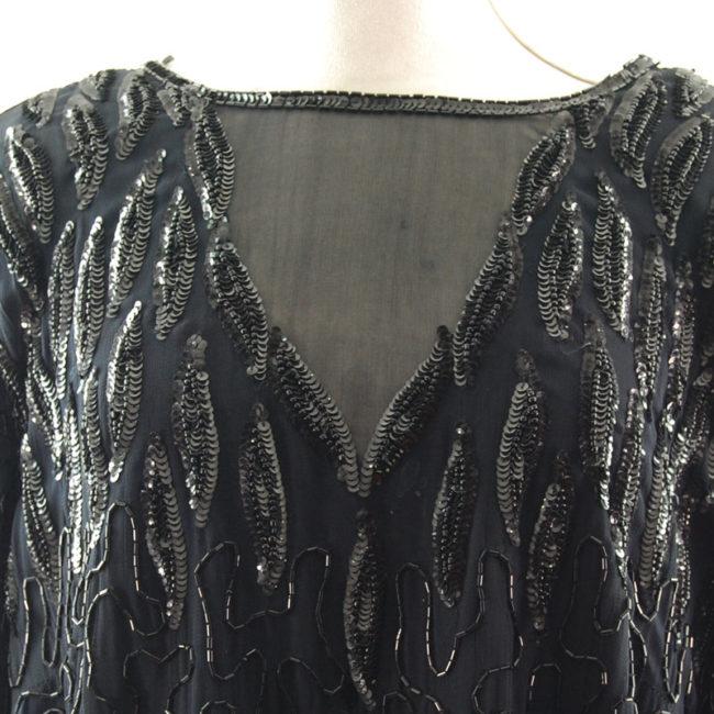 neckline 90s Black Chiffon Beaded Top