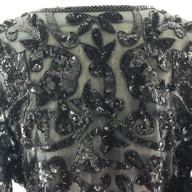 pattern 90s Black Sequined Cardigan