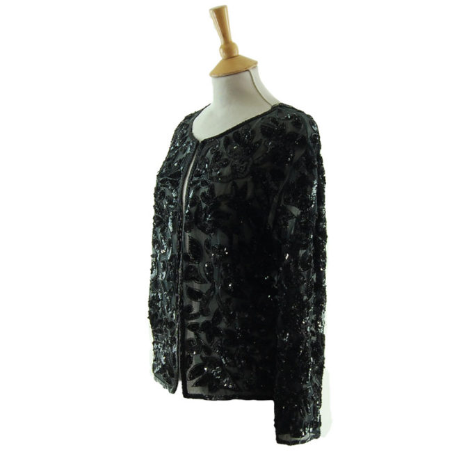side of 90s Black Sequined Cardigan