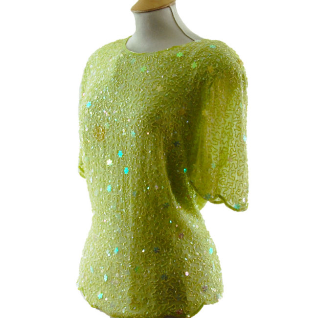 side of Beaded Pastel Green Top
