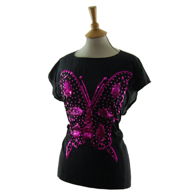 side of Sequin Butterfly Tee Shirt