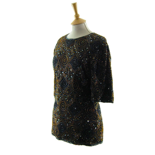 side of Womens Vintage Beaded Top