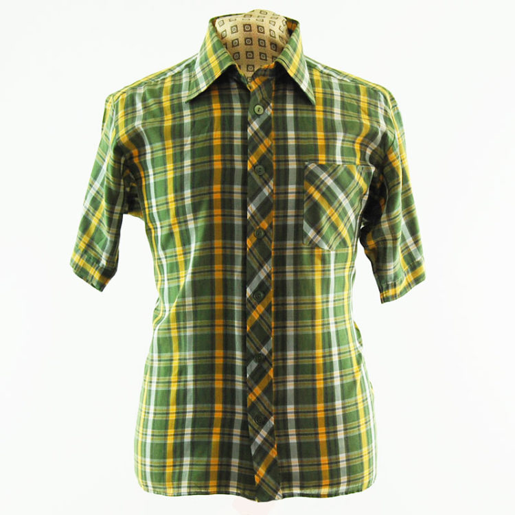 70s Green Plaid Printed Shirt
