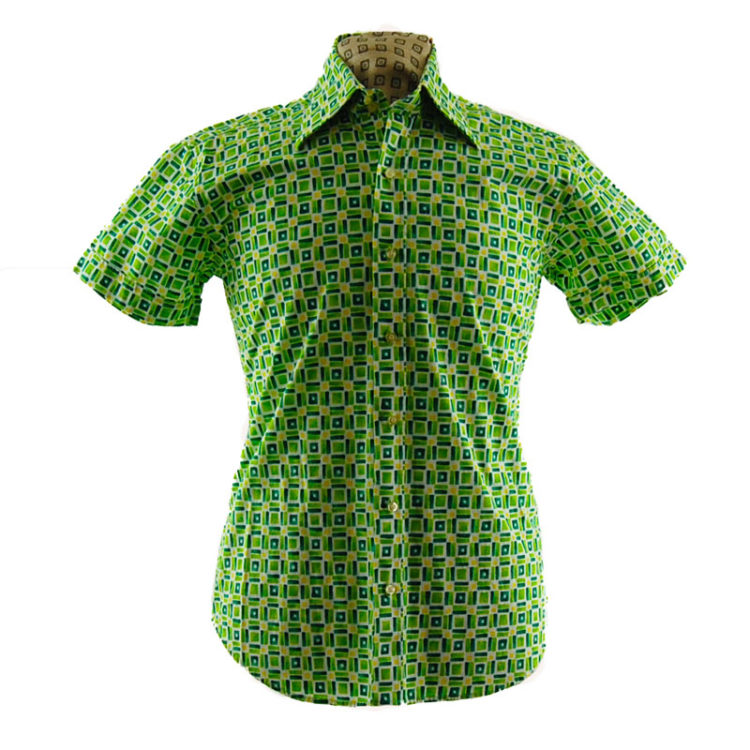 70s Lime Green Patterned Shirt