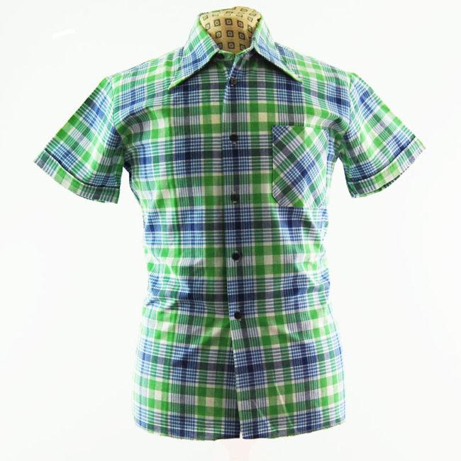 70s Mens Plaid Print Shirt