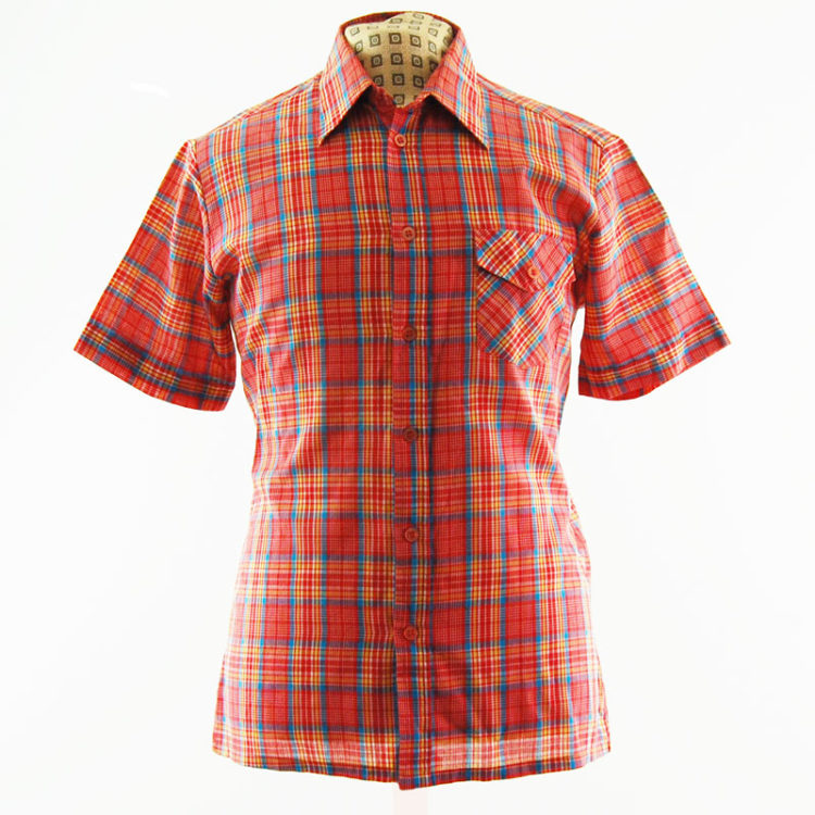 70s Red Plaid Vintage Shirt