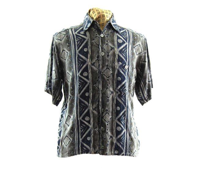 80s Trendy Monchrome Silk Shirt