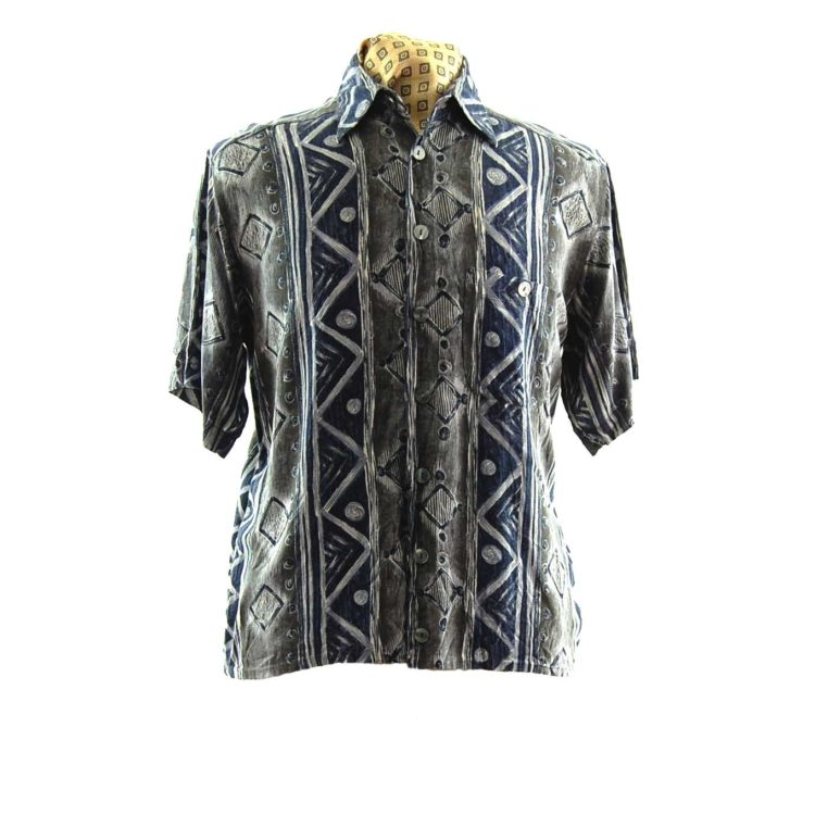 80s Trendy Monchrome Silk Shirt