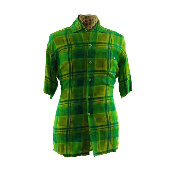 80s Vibrant Green Plaid Shirt