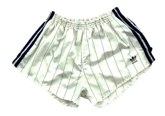 90s Adidas White Satin Sport Shorts