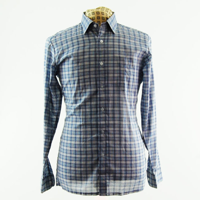 90s Blue Plaid Check Shirt