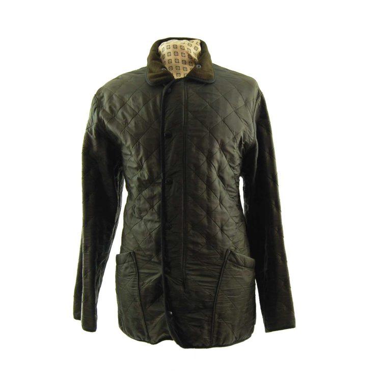 Barbour Green Diamond Quilt Coat