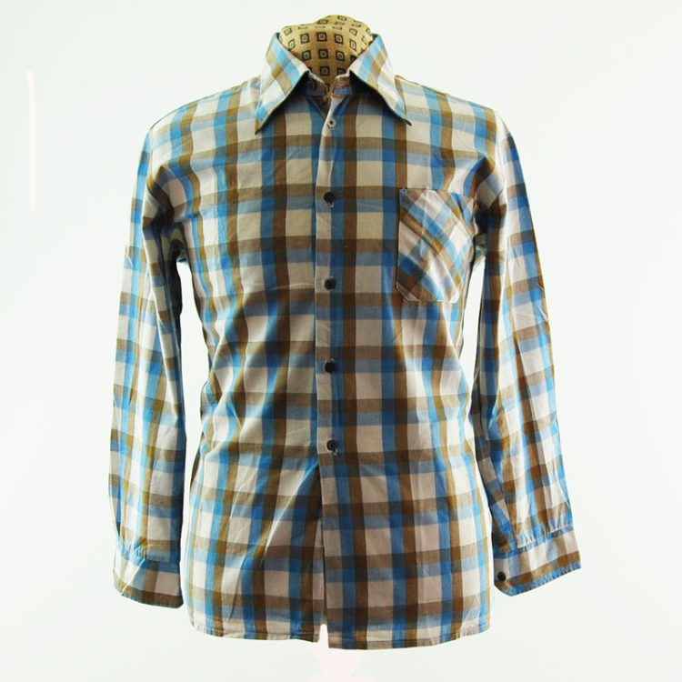 Vintage Pastel Plaid 70s Shirt