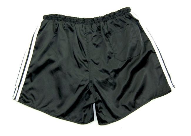 back of 90s Adidas Black Satin Sport Shorts