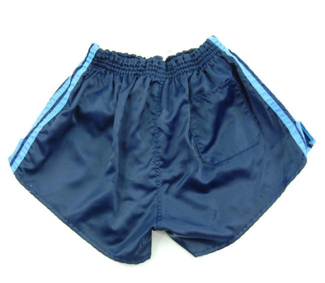 back of 90s Adidas Navy Satin Sport Shorts
