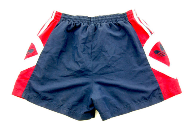 back of 90s Adidas Red And Blue Sport Shorts