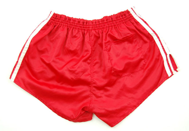 back of 90s Adidas Satin Red Sport Shorts