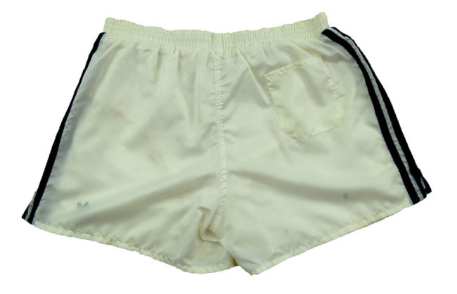 back of 90s Adidas Satin White Sport Shorts