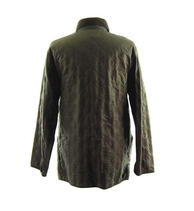back of Barbour Green Diamond Quilt Coat