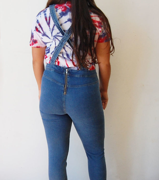 back of Cotton Skinny Jean Dungarees