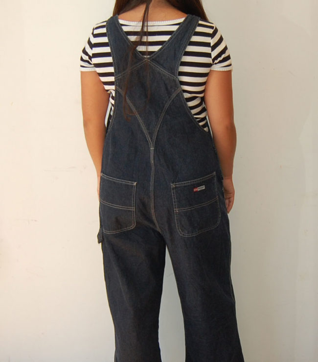 back of Denim Union Bay Dungarees