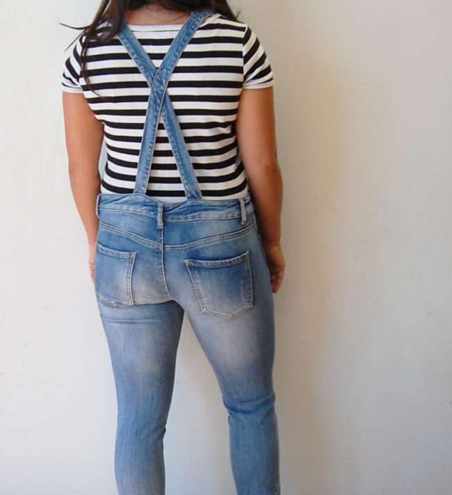 back of FB Sister Skinny Dungarees