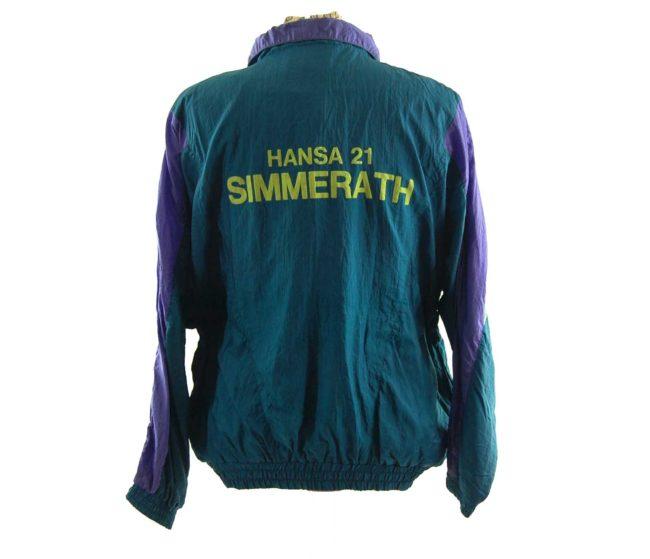 back of Vintage Forest Green Windbreaker Jacket