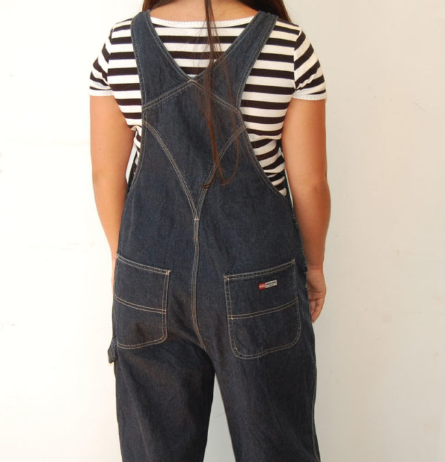 close back of Denim Union Bay Dungarees