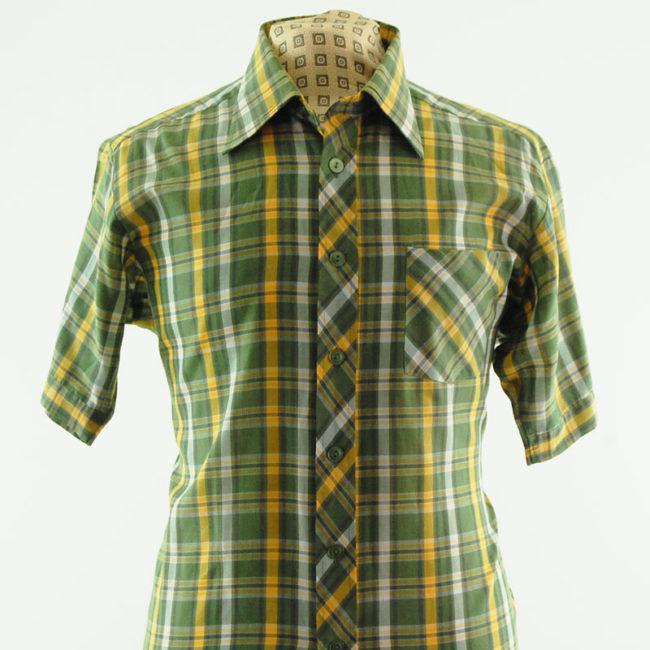 close up of 70s Green Plaid Printed Shirt
