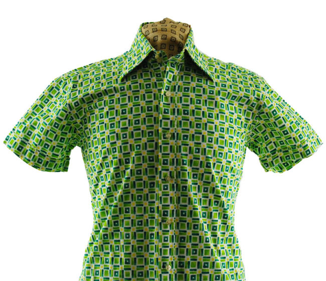 close up of 70s Lime Green Patterned Shirt