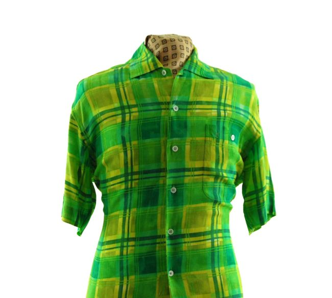close up of 80s Vibrant Green Plaid Shirt