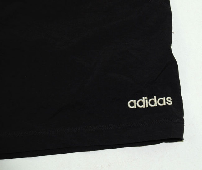 close up of 90s Adidas Black Sport Shorts