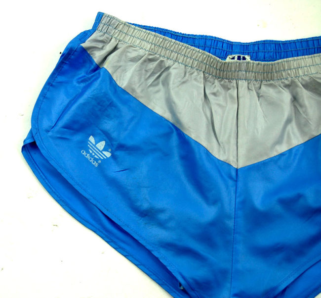 close up of 90s Adidas Blue Sport Shorts