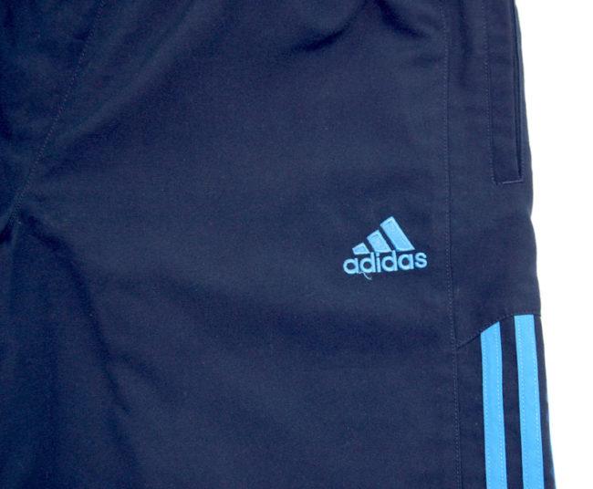 close up of 90s Adidas Navy Sport Shorts