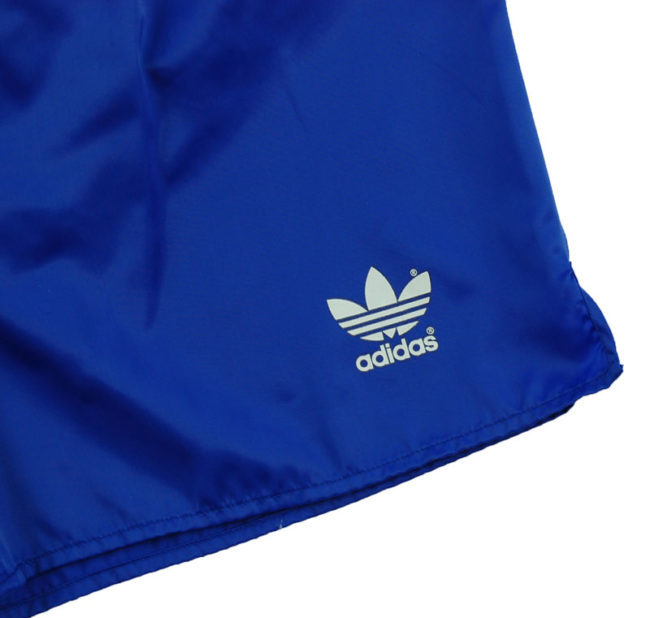 close up of 90s Adidas Plain Blue Sport Shorts