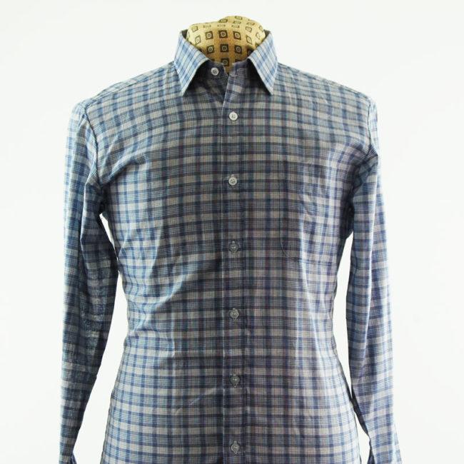 close up of 90s Blue Plaid Check Shirt