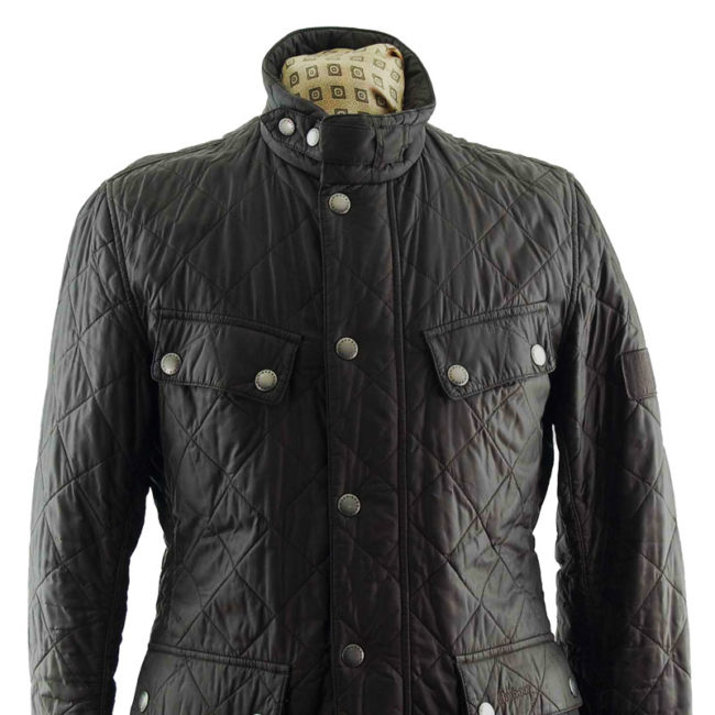 close up of Barbour Diamond Quilt Winter Coat