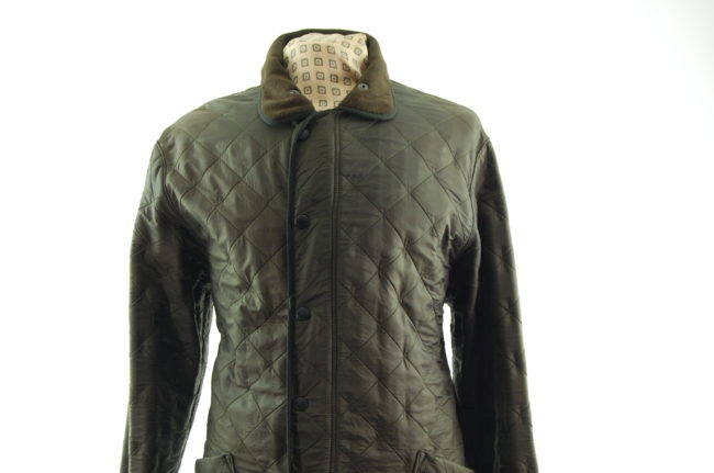 close up of Barbour Green Diamond Quilt Coat